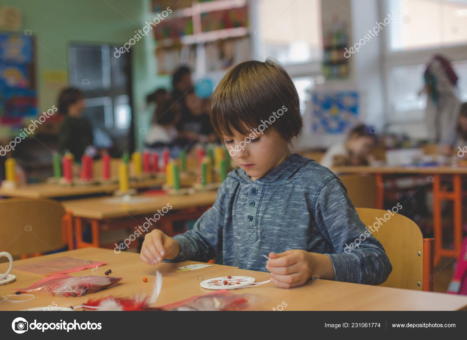 Enfant Âge Primaire Création Art Produit Artisanat Capteur Rêves ...