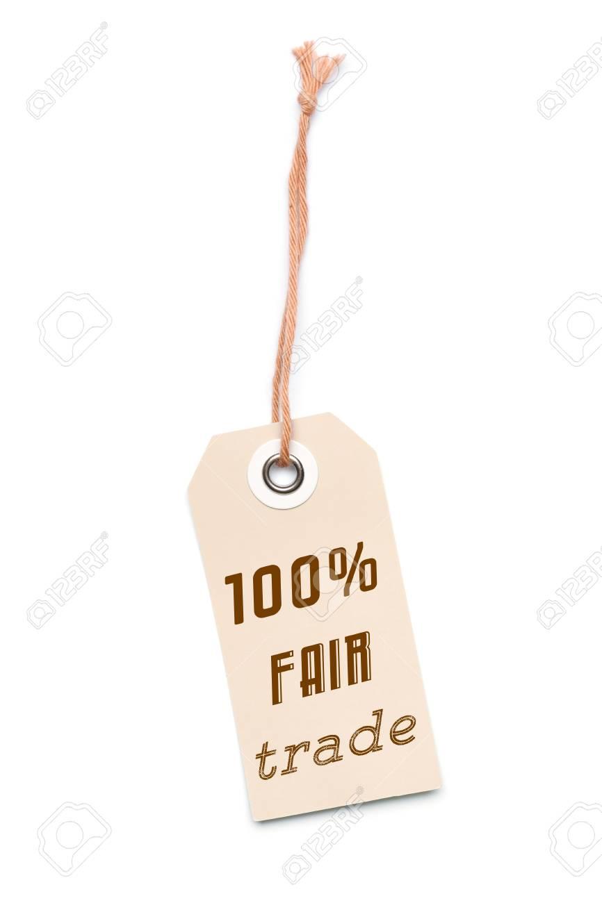 Brun clair balise étiquette de carton avec 100% Message du commerce équitable