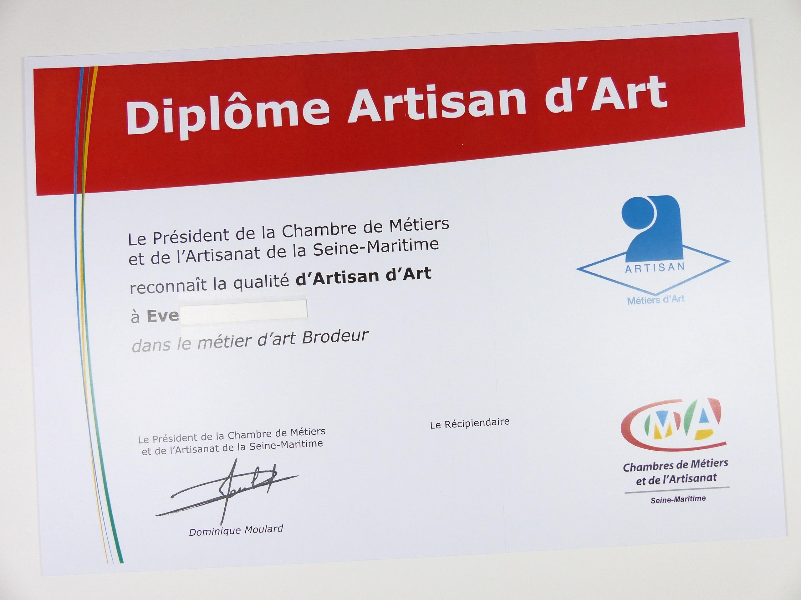 Diplôme artisan métier d'art ! - Art craft artisan diploma ...
