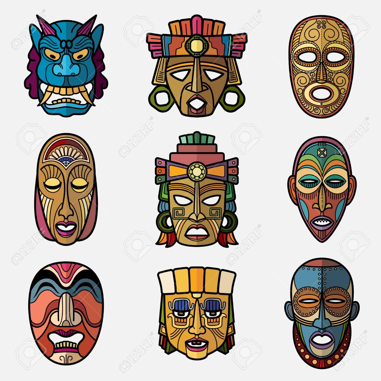 Masque tribal vaudou artisanat africain et symboles totem de culture Amérique du Sud inca vector set. Souvenir de masque africain, illustration de ...