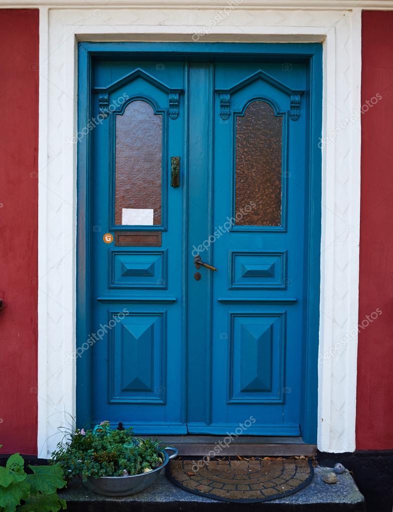 Porte d'entrée colorée traditionnelle Danemark — Photographie ...