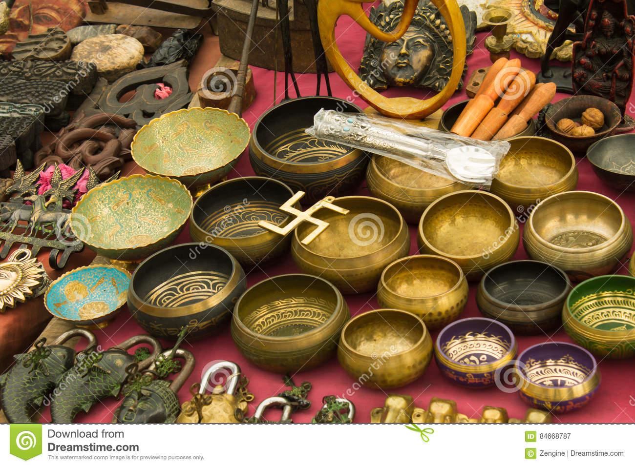 Artisanat Au Marché, Katmandou, Népal Image stock - Image du ...
