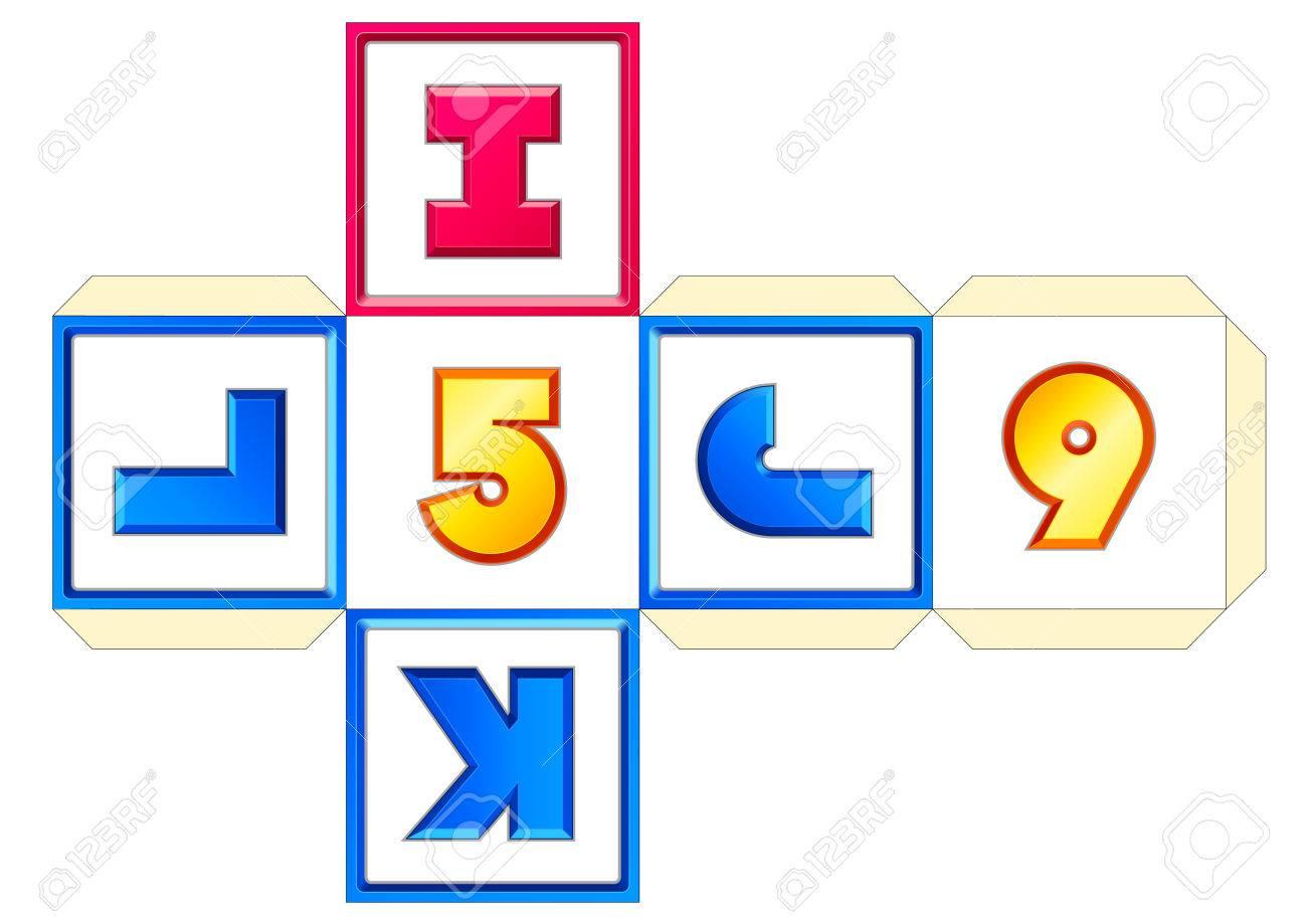 Diagramme de cube de papier vectoriel 26 lettres AZ. Abc alphabet anglais (latin). Numéros 0 à 9. Impression, artisanat, papercraft, apprentissage. ...