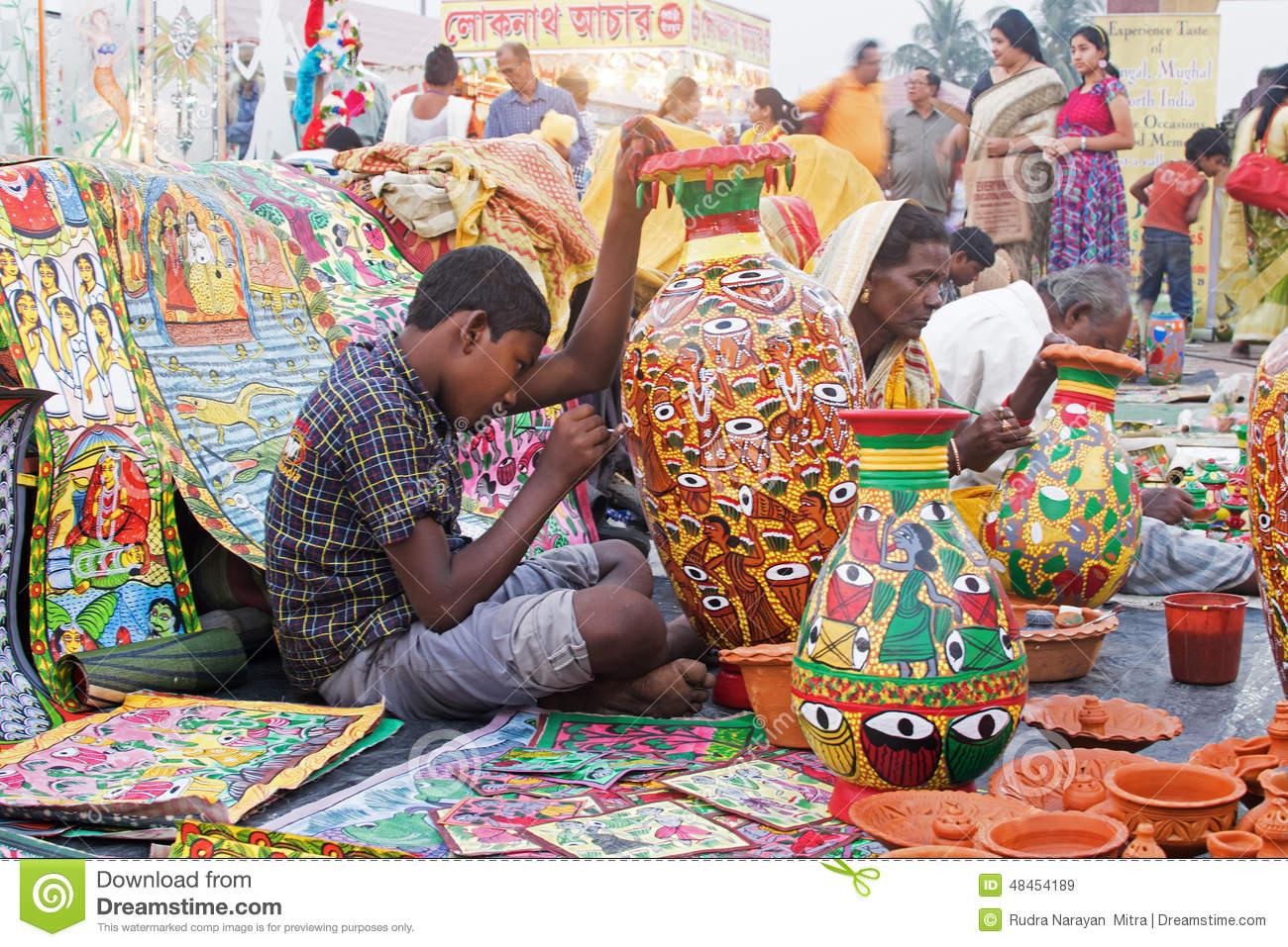 Furntures Peints, Artisanat Indien Juste Chez Kolkata Image stock ...