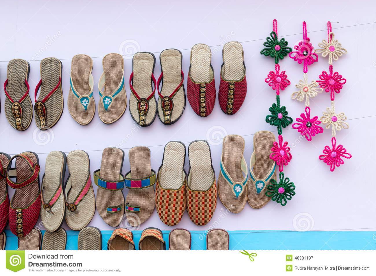 Chaussures Faites Main De Jute, Artisanat Indien Juste Photographie ...