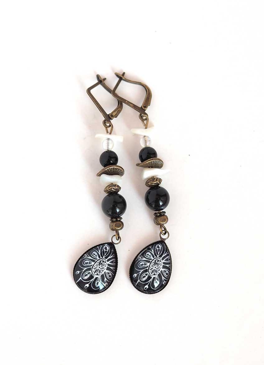 Boucles d'oreilles, pendantes, cabochon gouttes, obsidienne ...