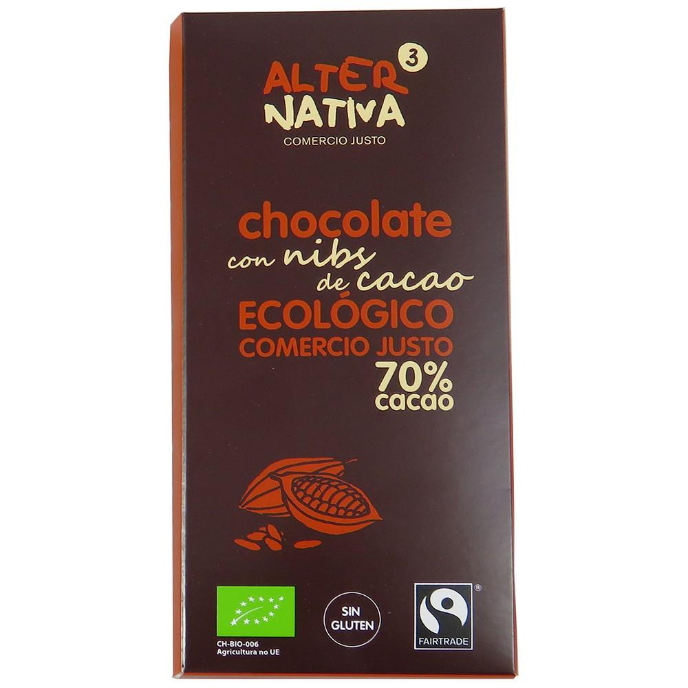 Chocolat noir bio/équitable au éclats de fève de cacao - 80 g - Alternativa 3