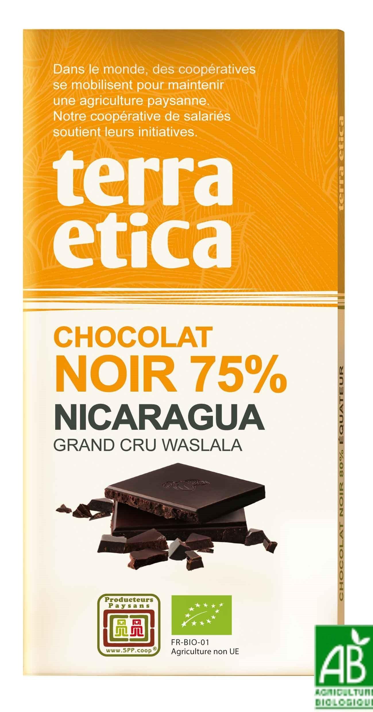 Chocolat noir BIO origine Nicaragua / Comm. équitable 75 % de cacao ...