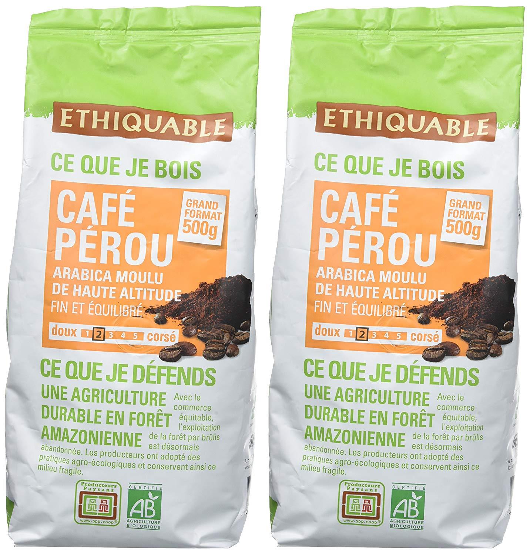 Ethiquable Café Moulu Pérou Bio et Équitable 500 g Producteurs ...