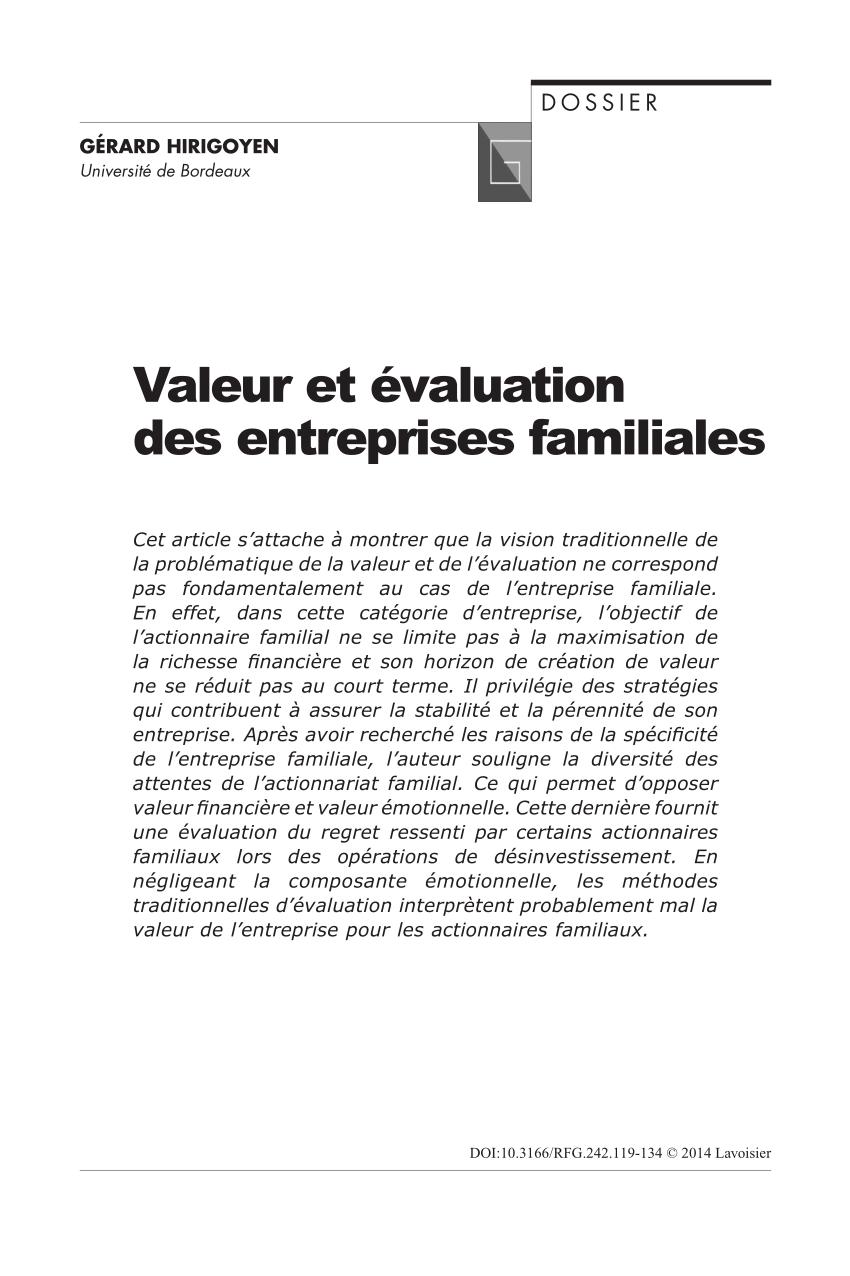 PDF) Valeur et évaluation des entreprises familiales