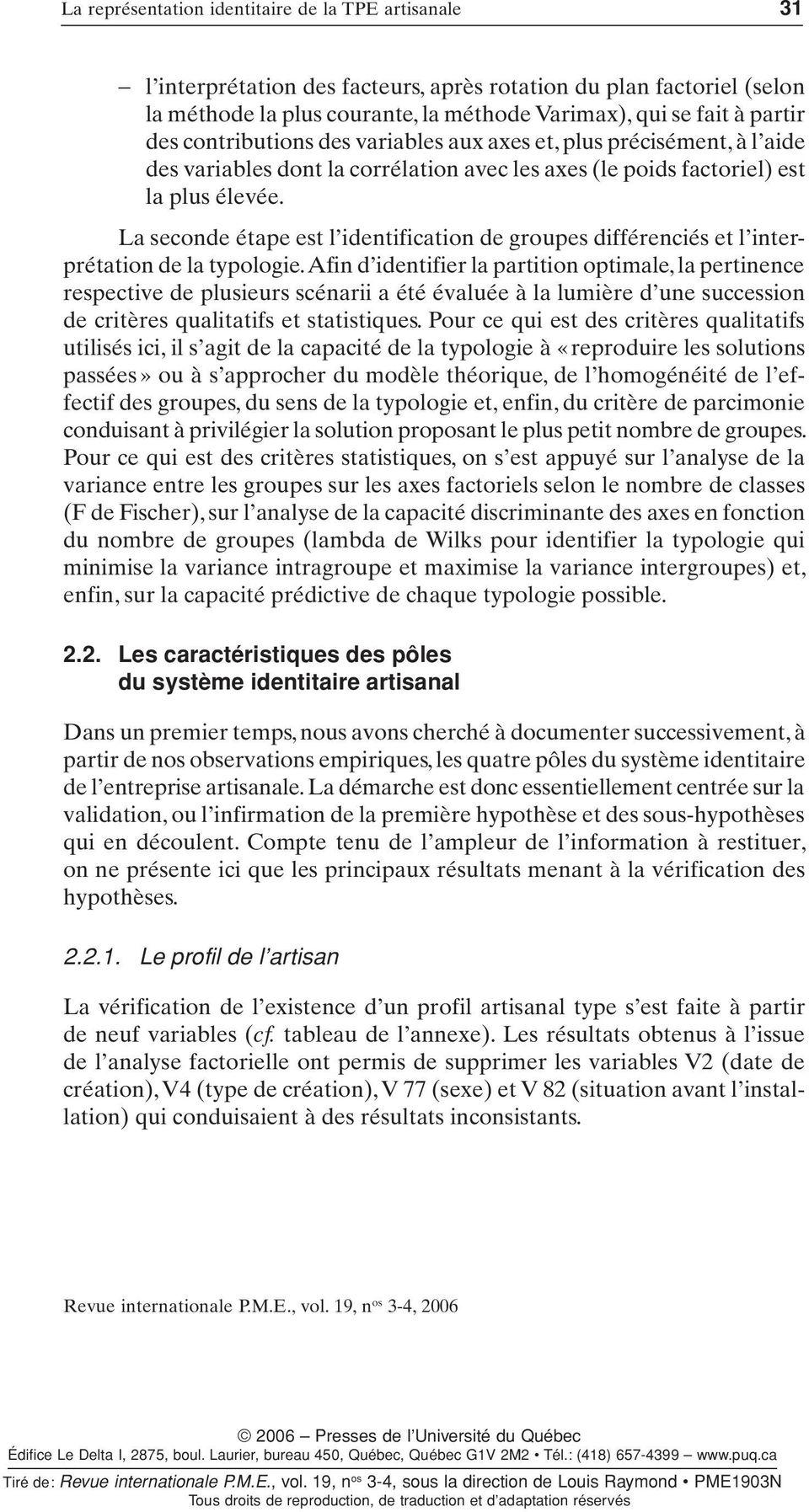 Revue internationale P.M.E. : économie et gestion de la ...