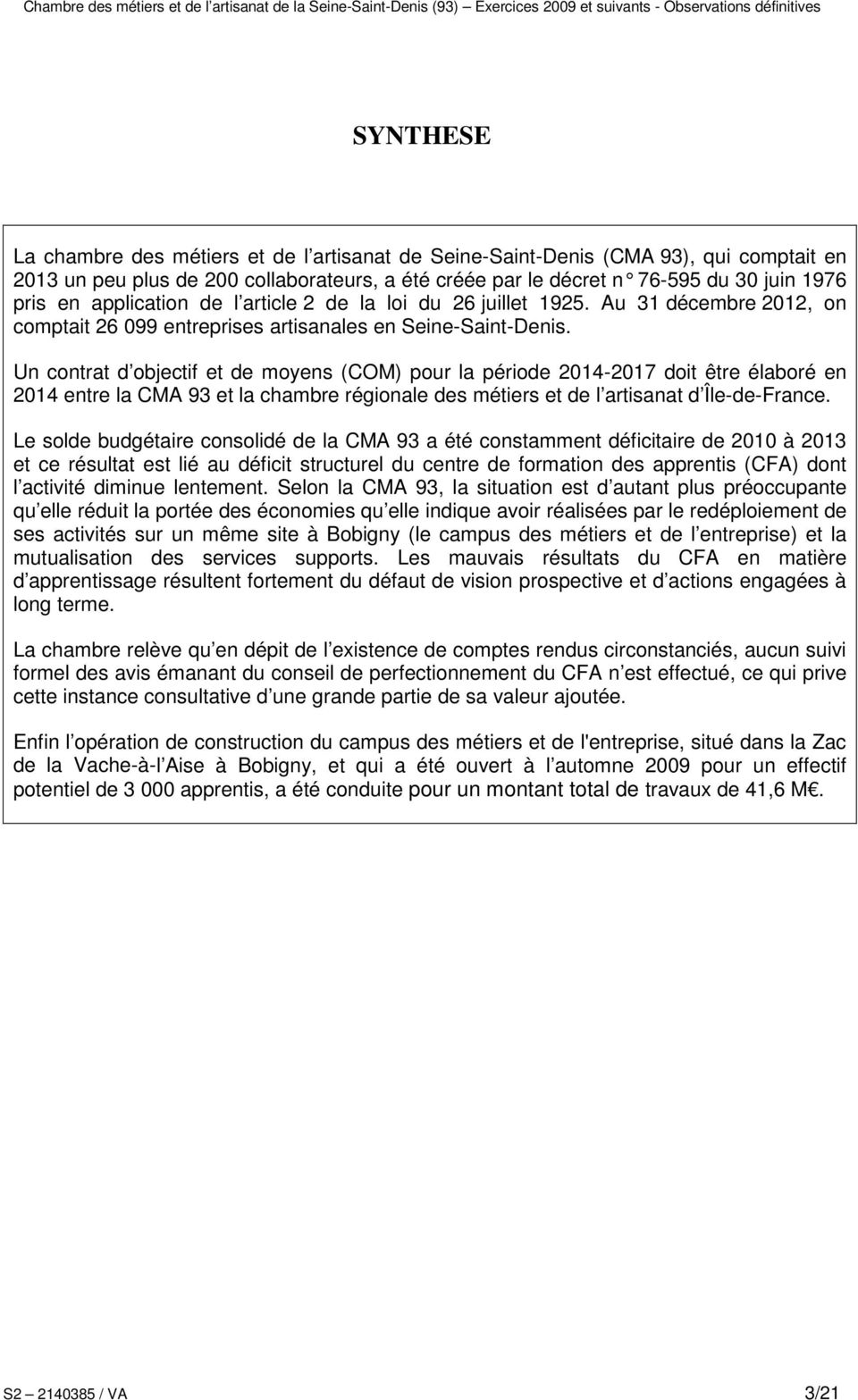 CHAMBRE DE MÉTIERS ET DE L ARTISANAT (93) - PDF