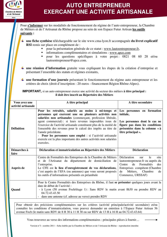 AUTO ENTREPRENEUR EXERCANT UNE ACTIVITE ARTISANALE - PDF ...