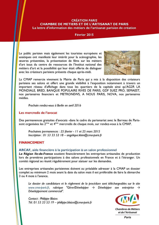 CRÉATION PARIS CHAMBRE DE METIERS ET DE L ARTISANAT DE PARIS ...
