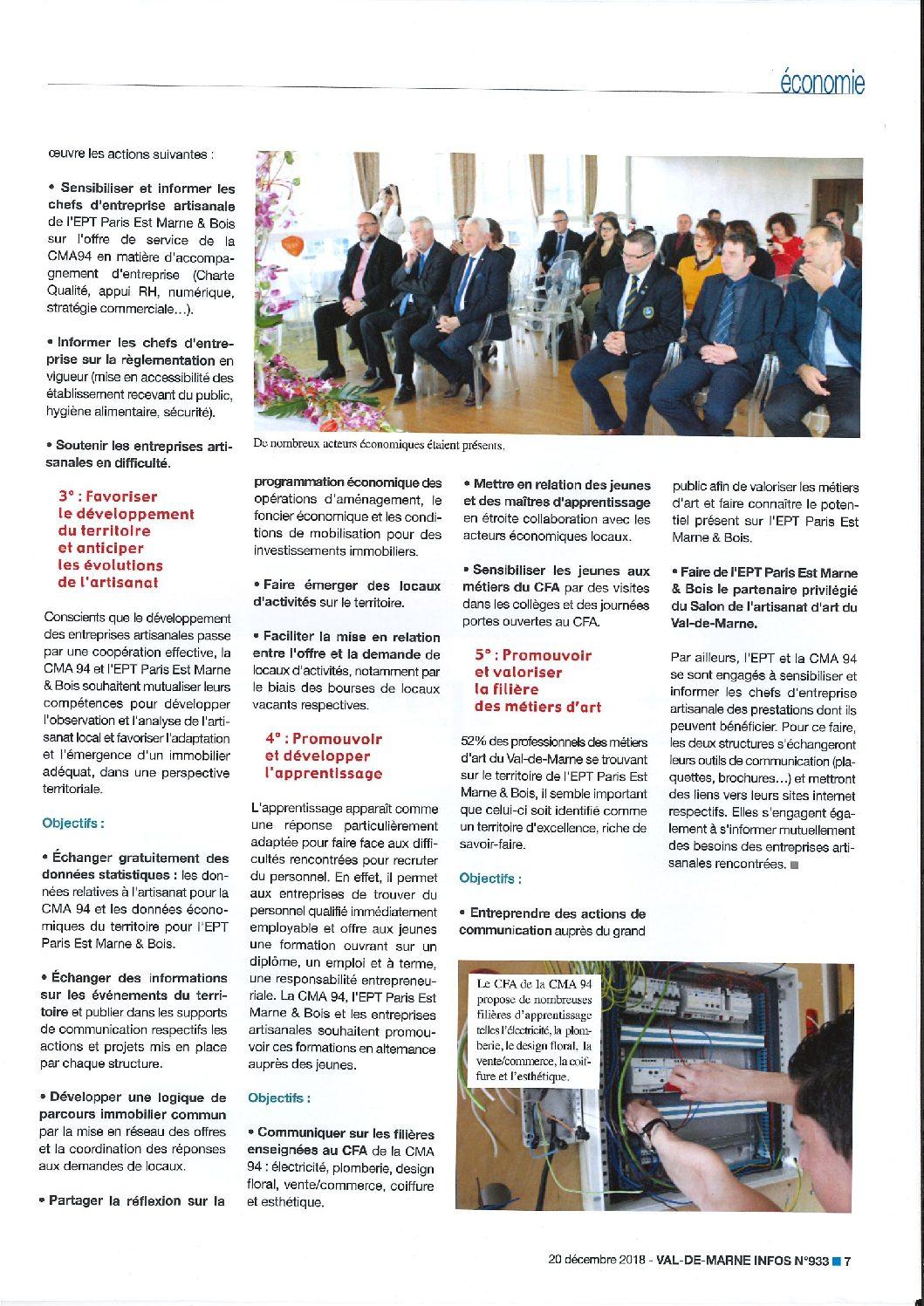 Paris Est Marne&Bois et la Chambre de Métiers et de l'Artisanat ...