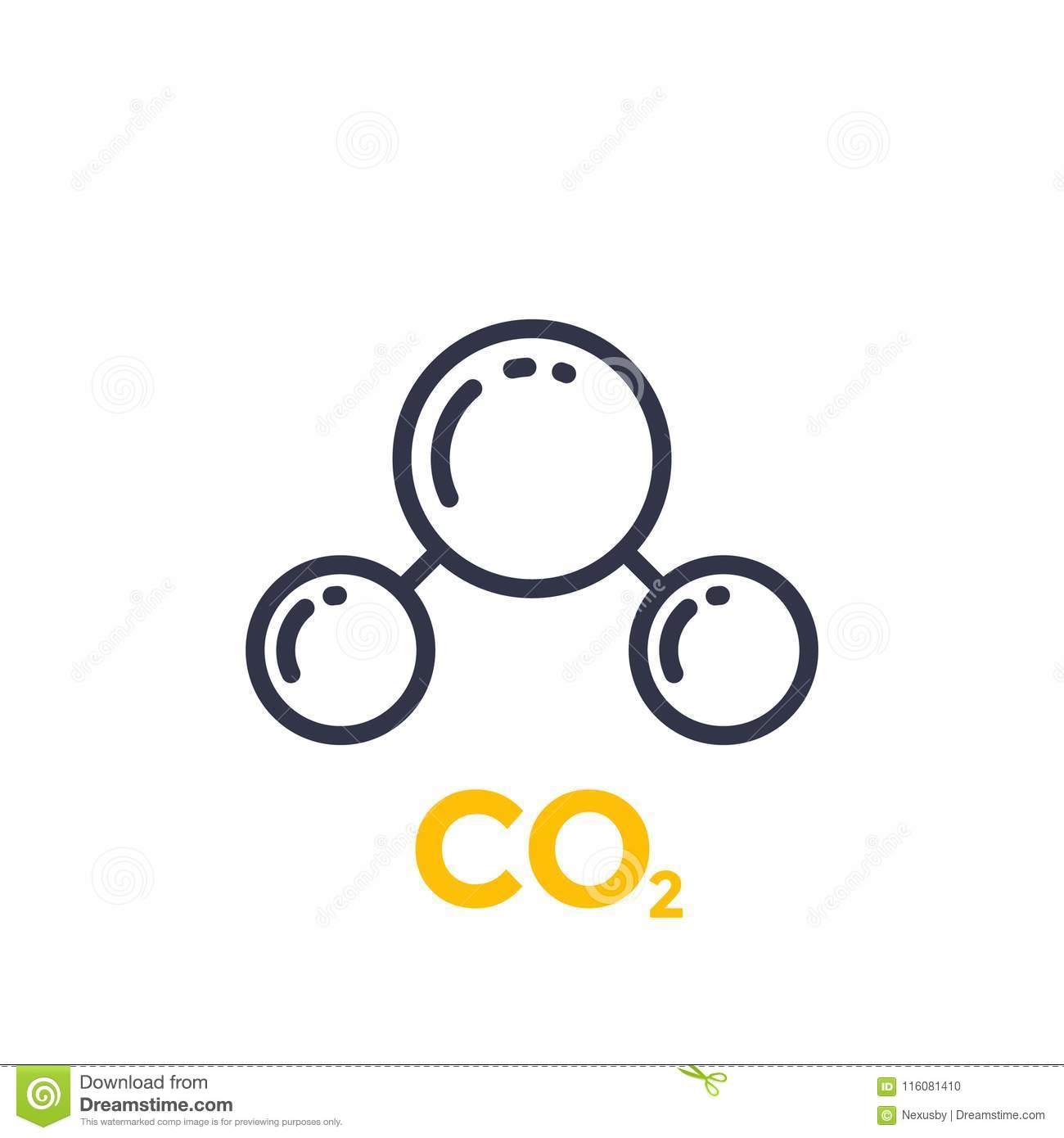 Ligne Icône De Molécule De CO2 Illustration de Vecteur ...