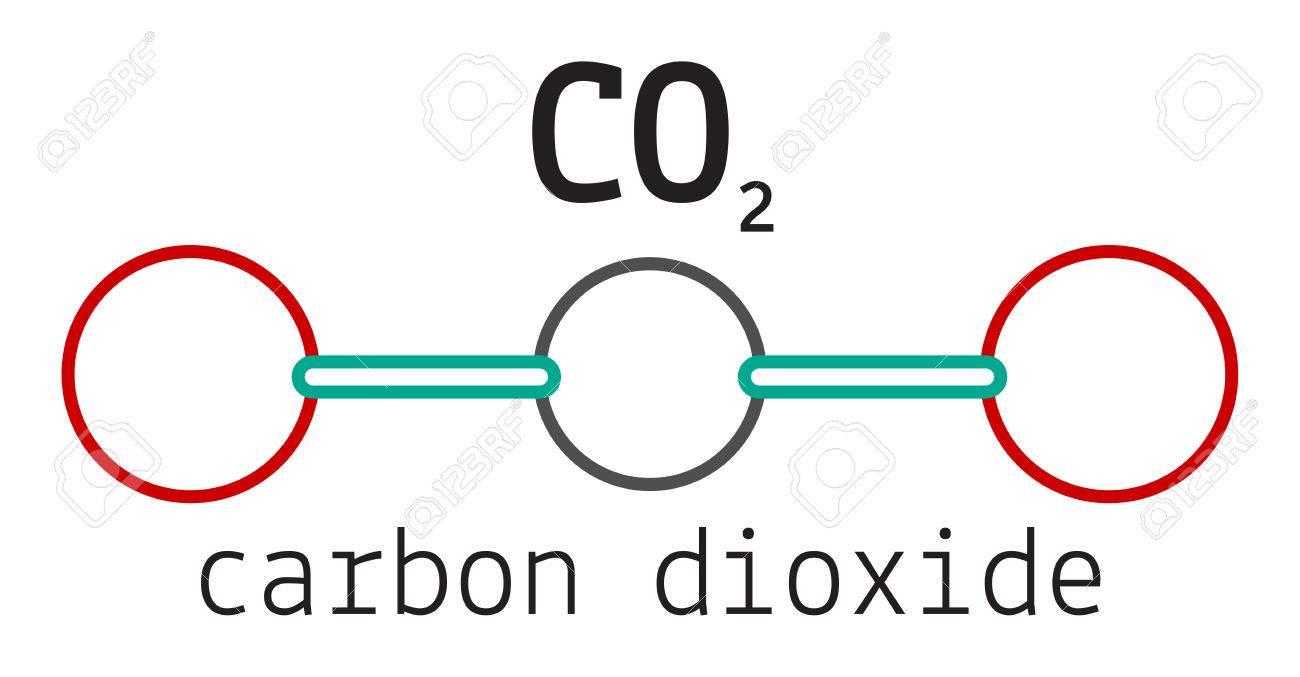 CO2 molécule de dioxyde de carbone isolé sur blanc