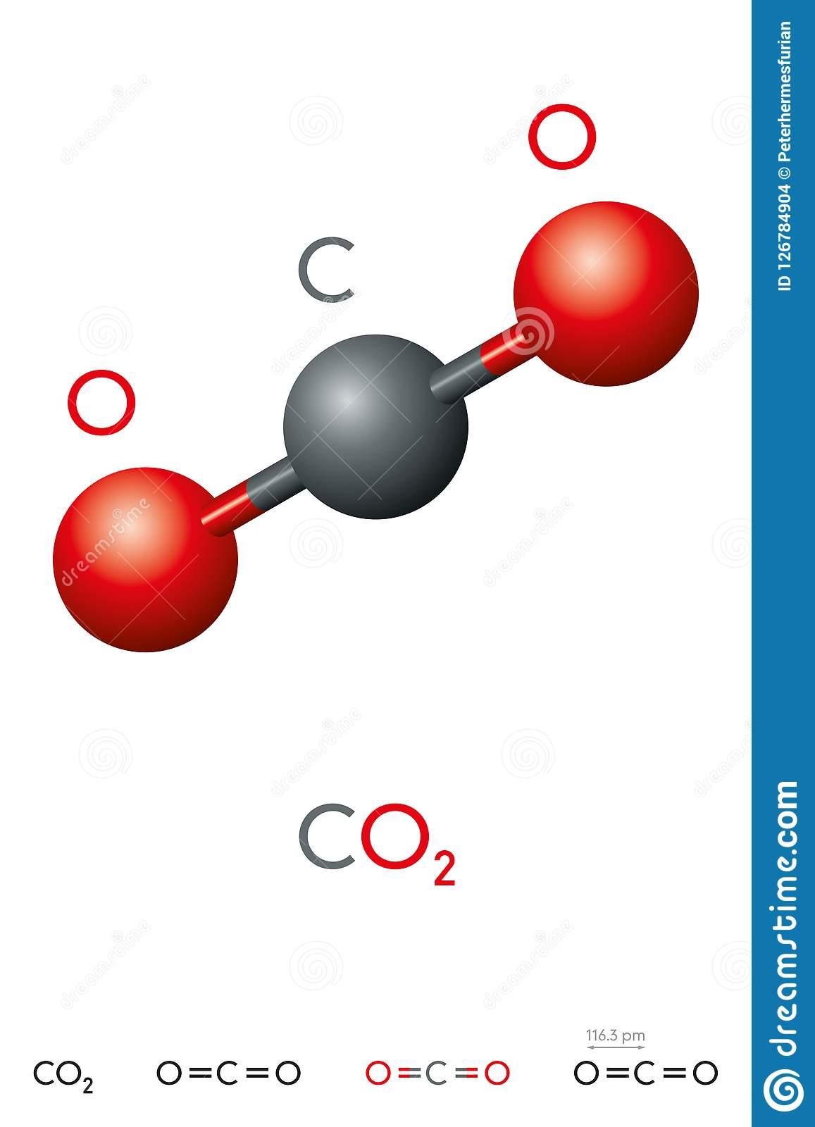 Dioxyde De Carbone, CO2, Modèle De Molécule Et Formule ...