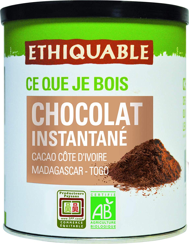 Ethiquable Chocolat Instantané Caco Côte d'Ivoire Bio - Madagascar - Togo - 400 g - Lot de 3