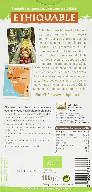 Ethiquable Chocolat Noir 88% Cacao Pérou Bio et Équitable en 100 g ...