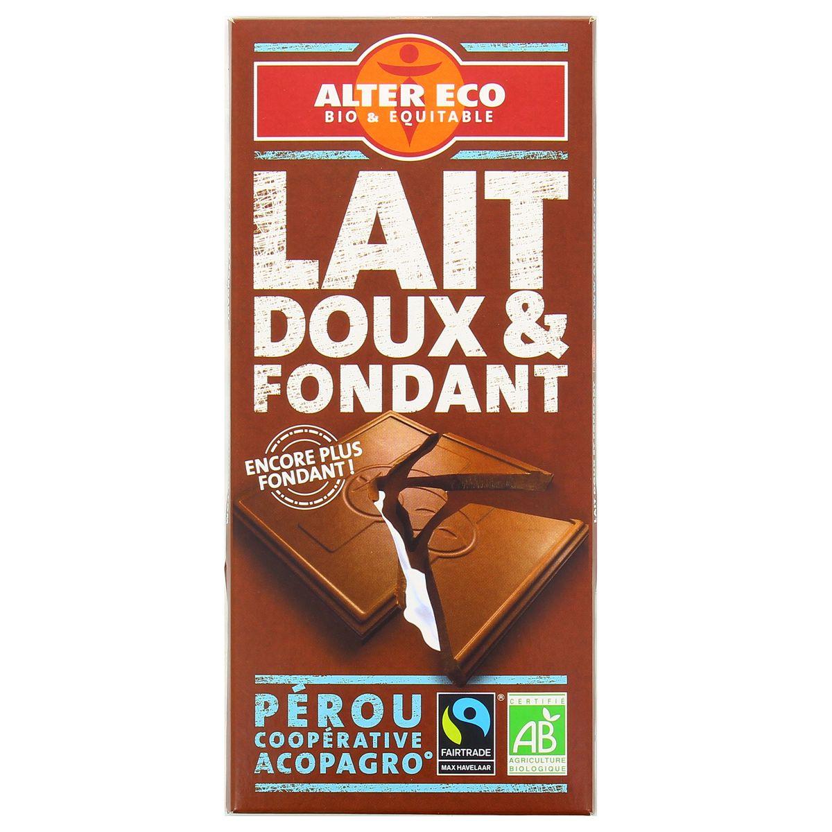 Alter Eco - Commerce Equitable Chocolat au lait doux et fondant, bio, 100g
