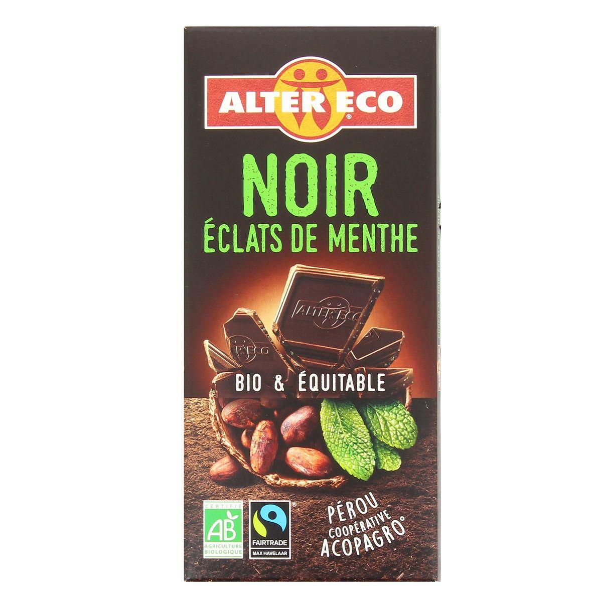 Alter Eco - Commerce Equitable Chocolat noir éclats de menthe, bio, 100g