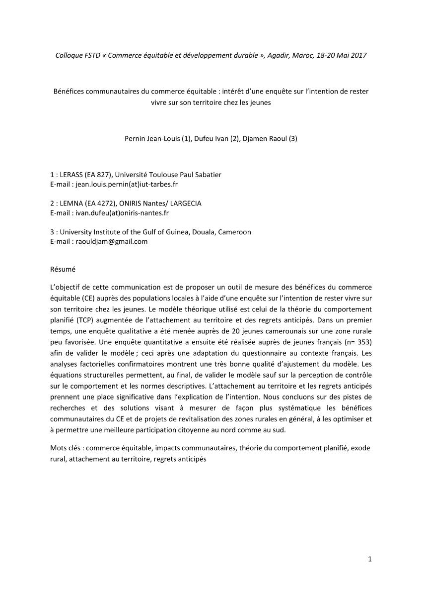 PDF) Quel commerce équitable pour quel développement durable ?
