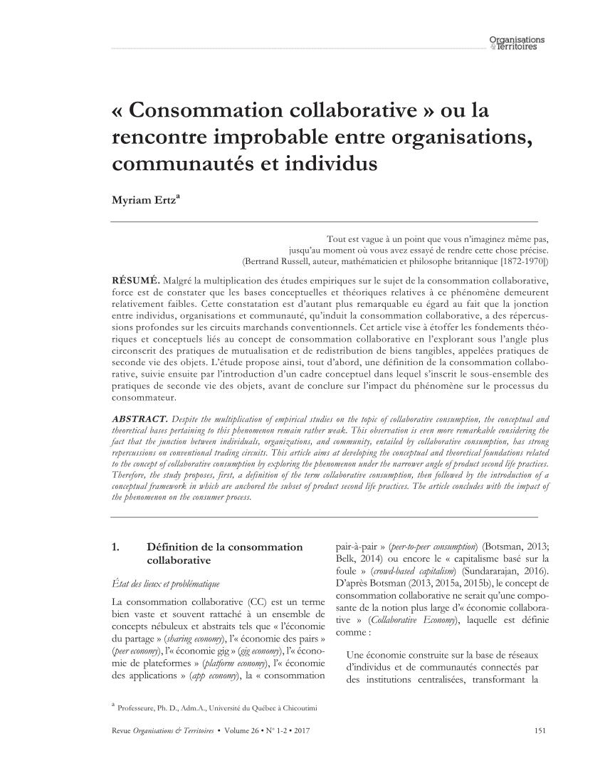 PDF) « Consommation collaborative » ou la rencontre improbable entre ...