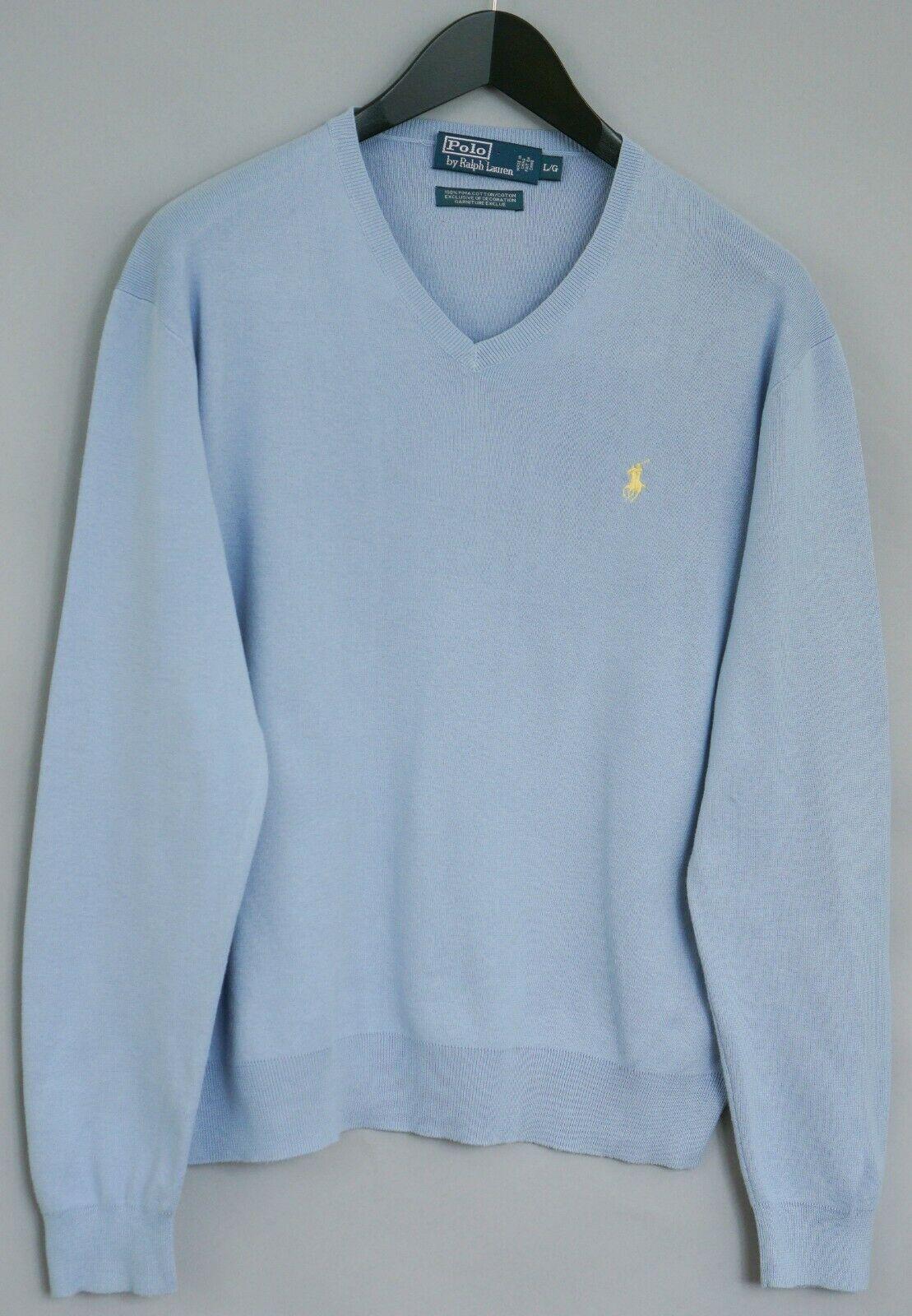 Détails sur Hommes Polo par Ralph Lauren Tricot Bleu Coton Pima Col V L XLM329