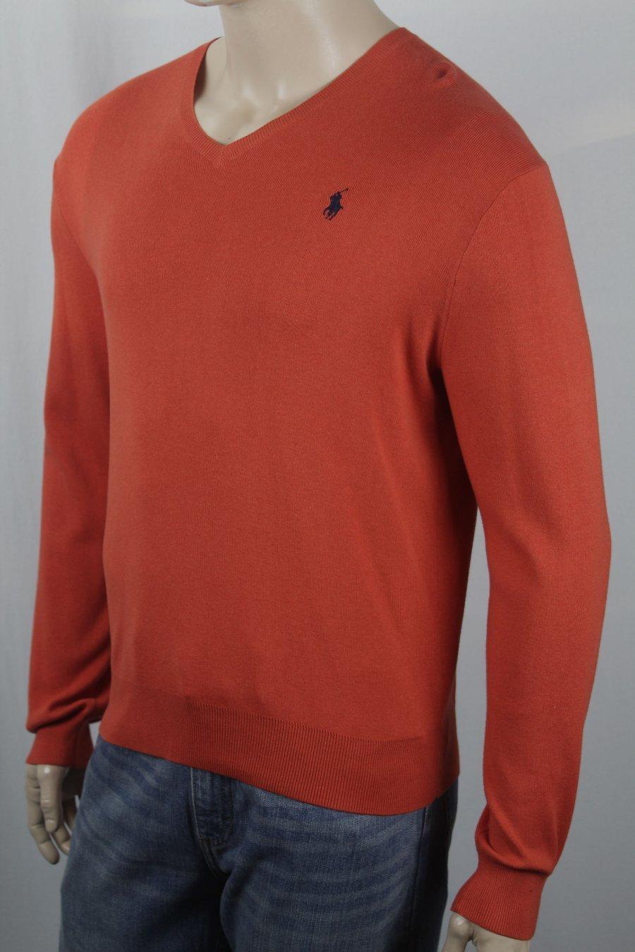 Détails sur Polo Ralph Lauren Rouge Orange Coton Pima Pull Bleu Marine Queue de Cheval