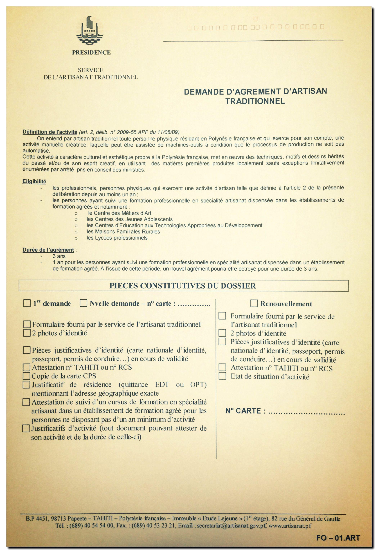 Documents à fournir - Service de l'artisanat traditionnel