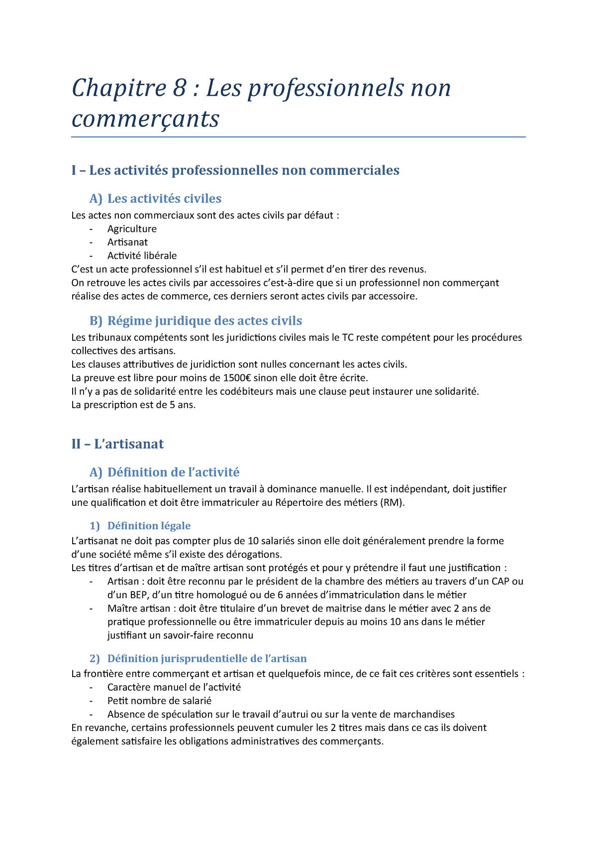 Chapitre 8 - Les professionnels non commerçants - Introduction au ...