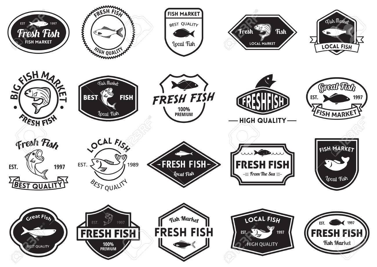 Collection de marché du poisson et des labels de qualité frais