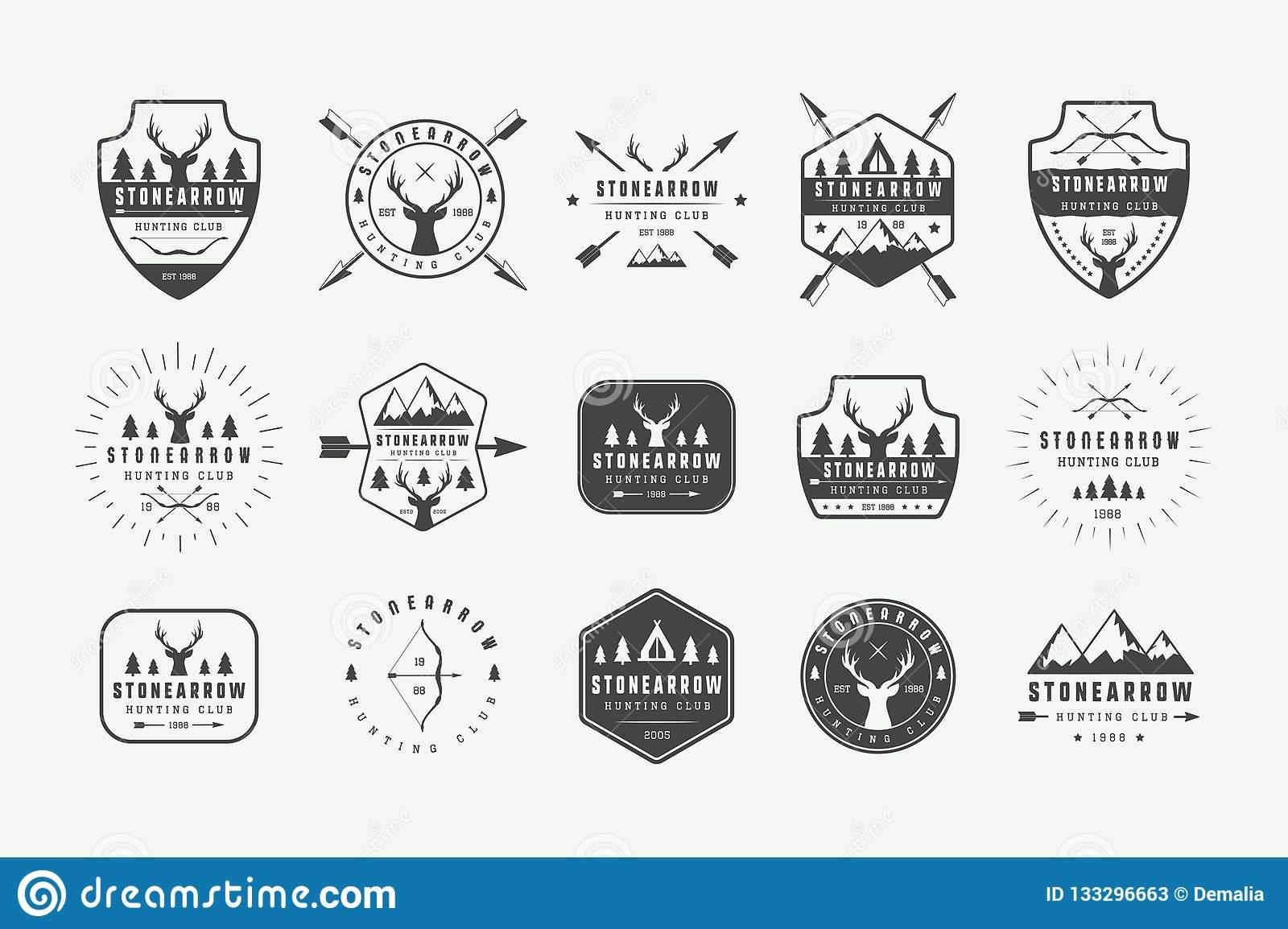 Placez Des Labels De Chasse De Cru, Logos, Insignes ...