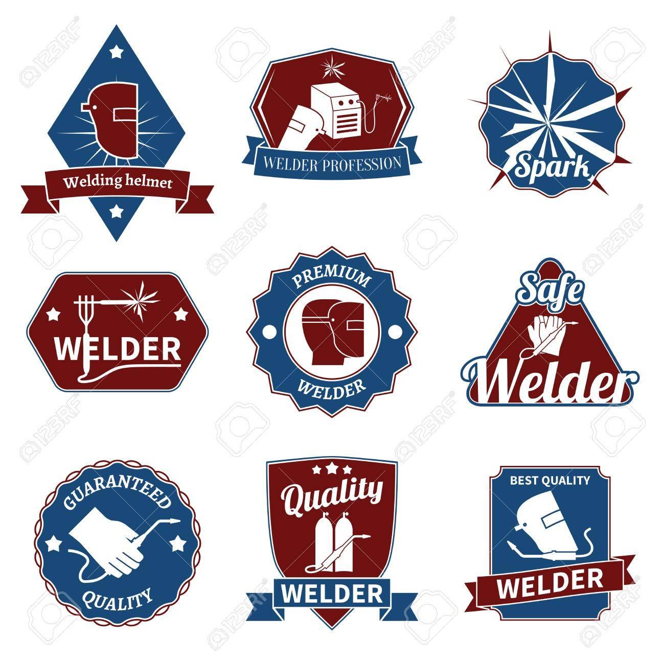 Industrie Soudeur instrument de travail des labels de qualité premium ensemble isolé illustration vectorielle.