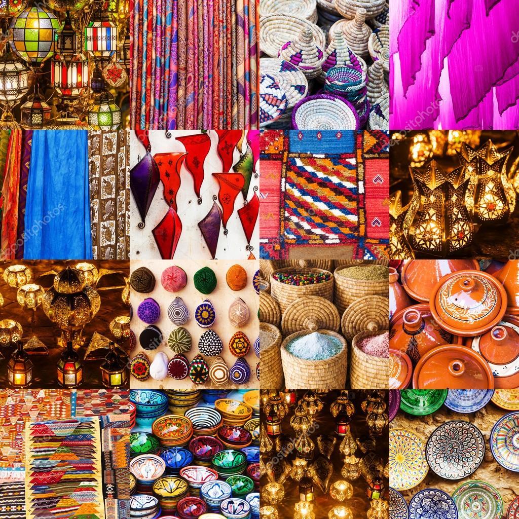 Collage des produits artisanaux marocains — Photographie ...