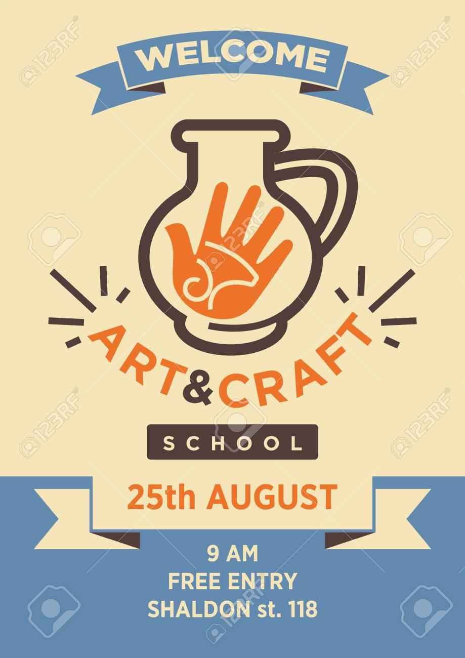 Art et atelier école d'artisanat modèle de vecteur d'affiches de bienvenue