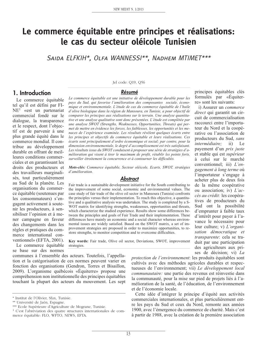 PDF) Le commerce équitable entre principes et réalisations ...