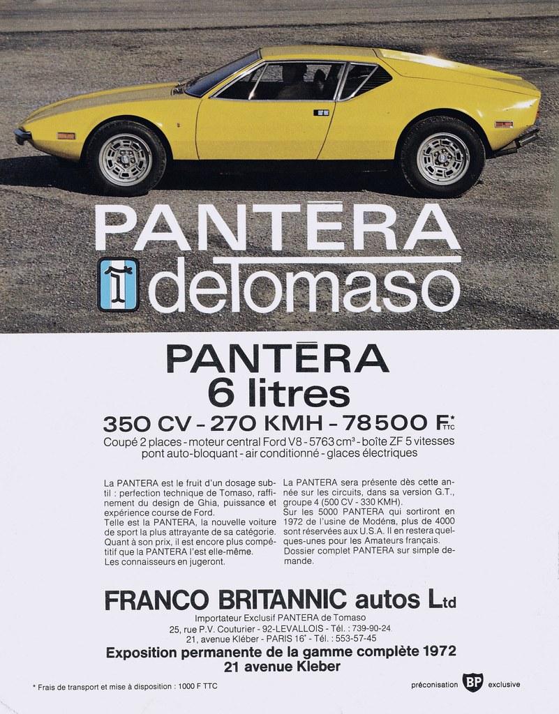 Pub DE TOMASO Pantera (Nov 1972) | Importateur français : FR ...