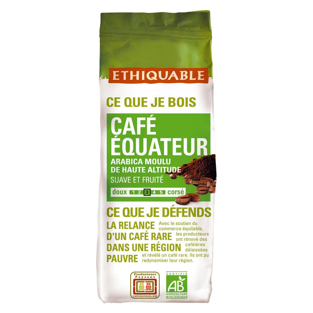 Ethiquable Paquet de 250 g Café moulu Equateur Commerce Equitable
