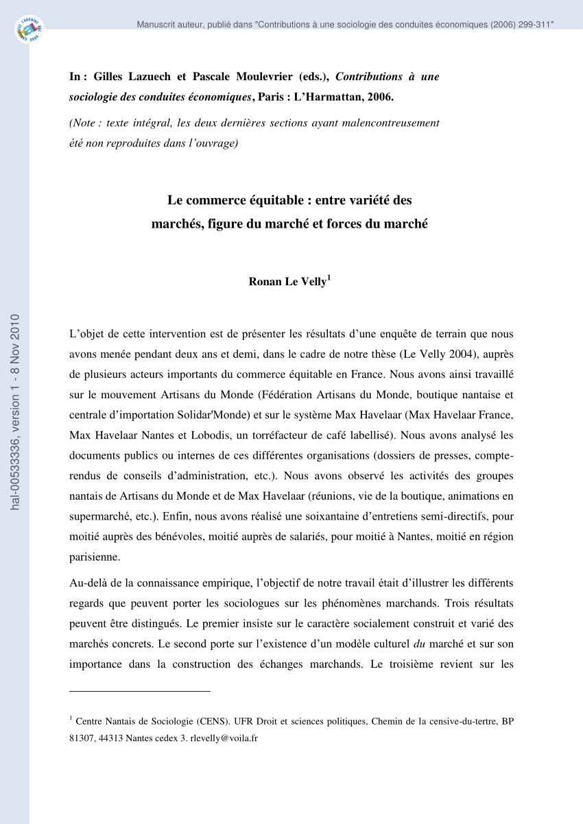 PDF) Le commerce équitable : entre variété des marchés ...