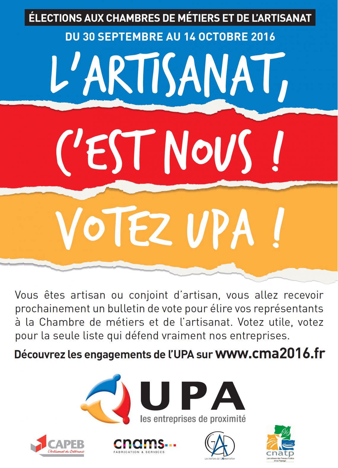 CAPEB ・ L'Artisanat de proximité, c'est nous, votez UPA.