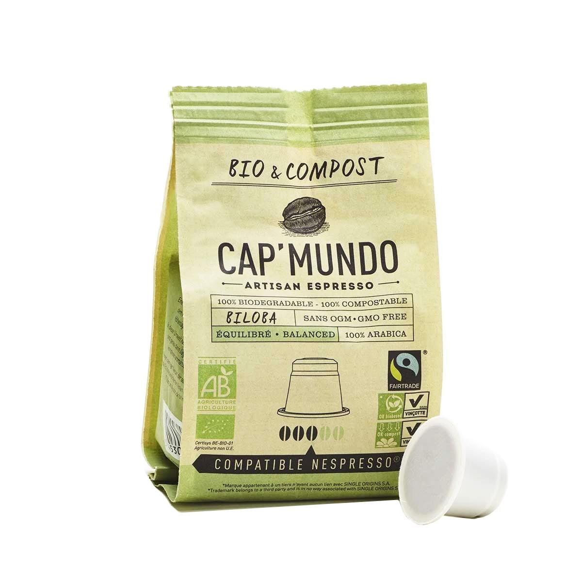 Capsules de café BILOBA (équilibré) bio & compost & équitable x10