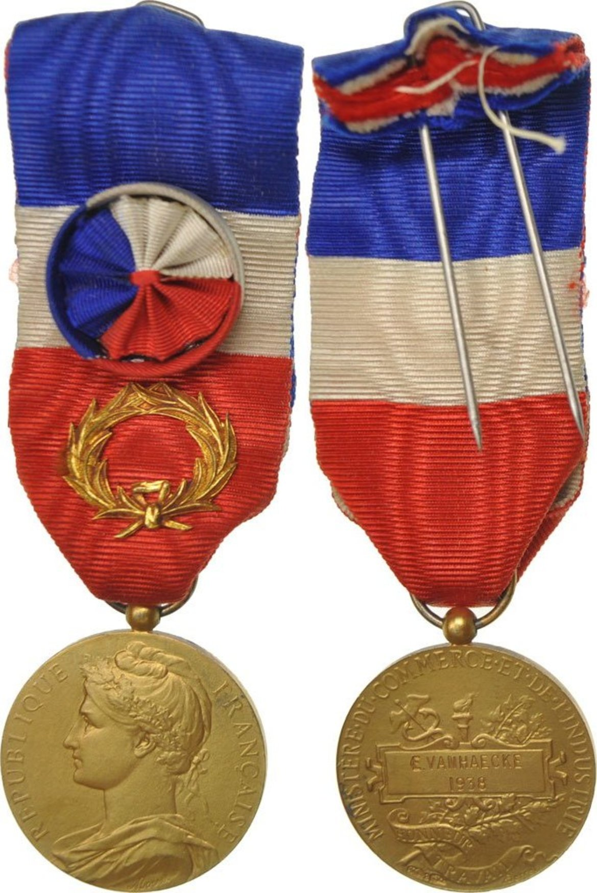 Medaille 1938 France Ministère du Commerce et de l'Industrie, Couronne