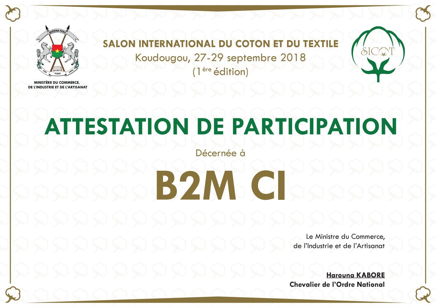 DA_ATTESTATION DE PARTICIPATION_SICOT 2018 by Delphicom ...