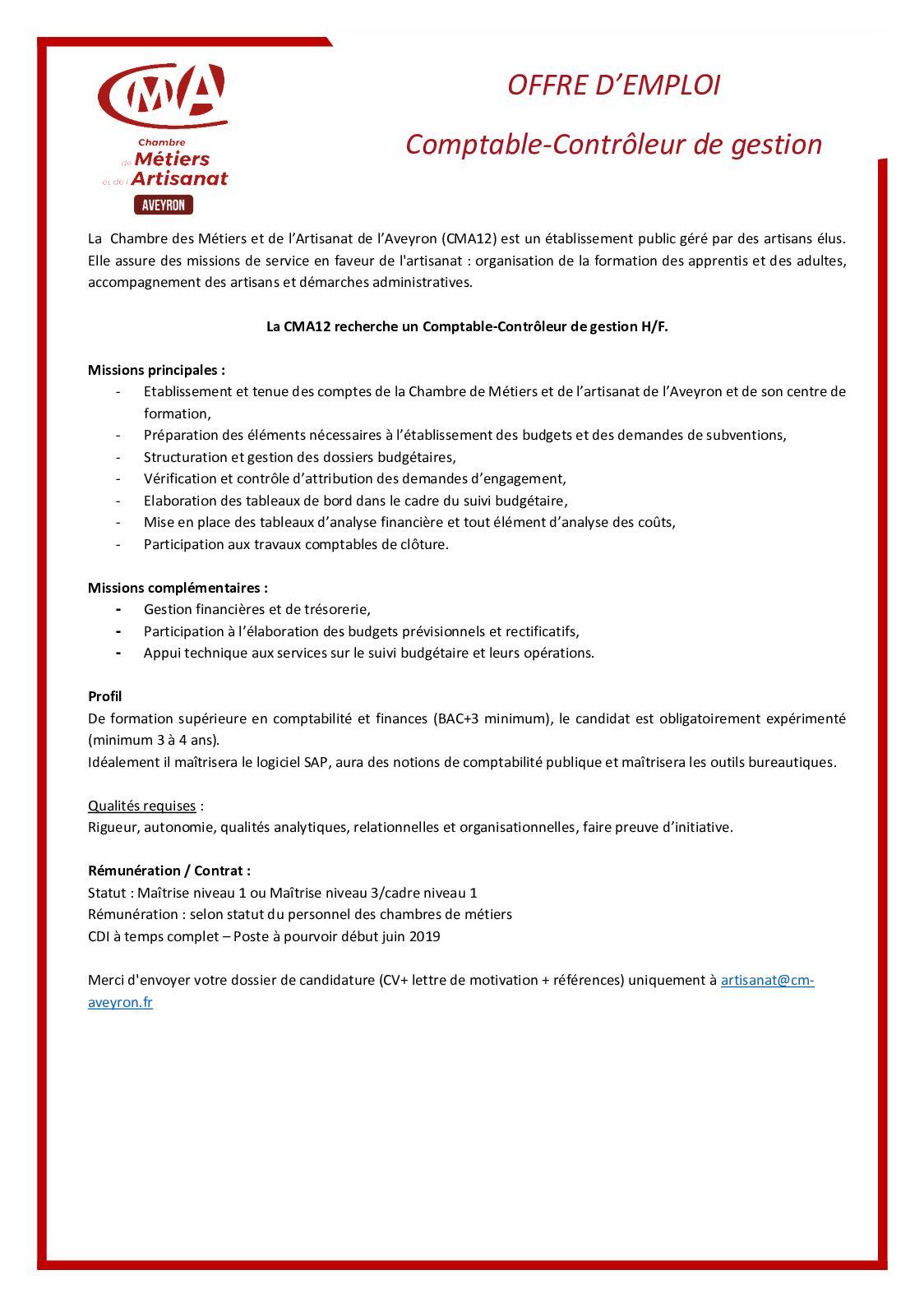 Calaméo - Offre D'emploi Comptable Contrôleur De Gestion