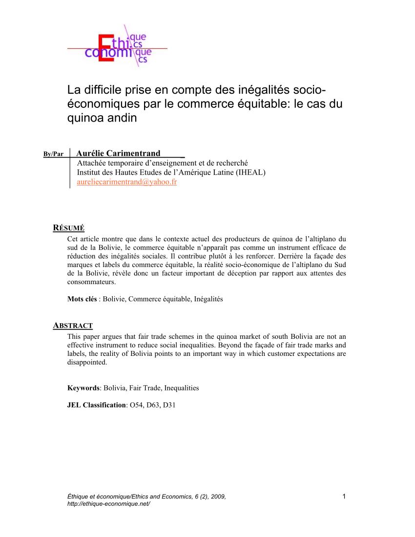 PDF) La difficile prise en compte des inégalités socio ...