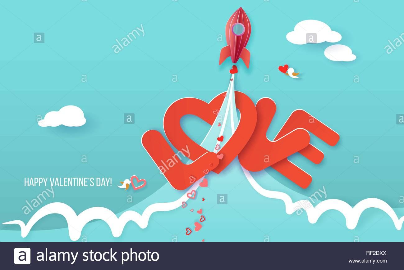 Carte de Saint Valentin. Rocket start up et voler plus de ...