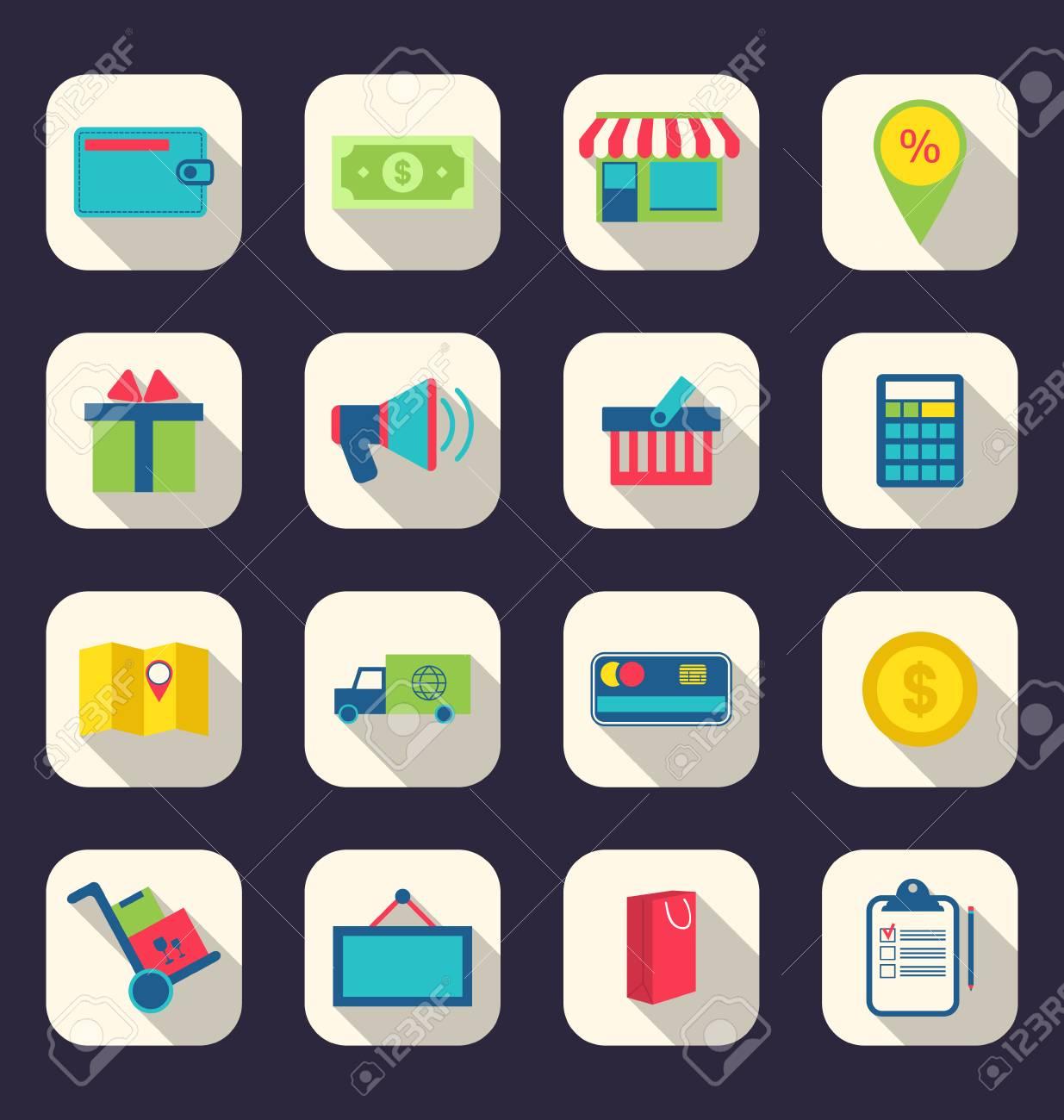Illustration des icônes plates de e-commerce symbole commercial, des éléments de la boutique en ligne et le commerce, article effet d'ombre à long ...
