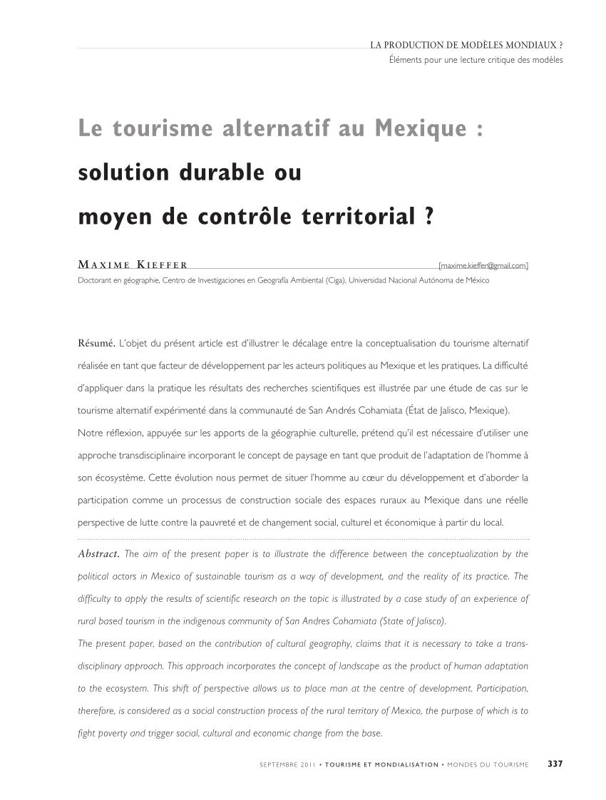 PDF) Le tourisme alternatif au Mexique : solution durable ou ...